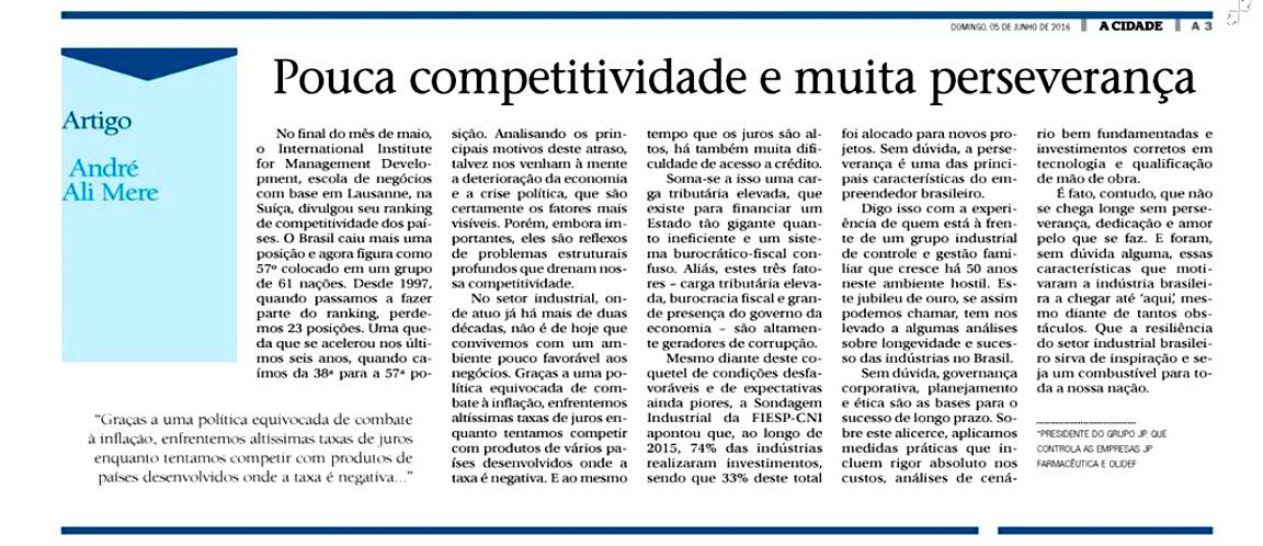 Presidente Executivo do Grupo JP fala sobre Competitividade ao Jornal A Cidade